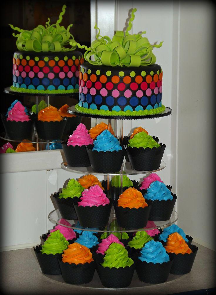 - neon cake and cupcake tower.