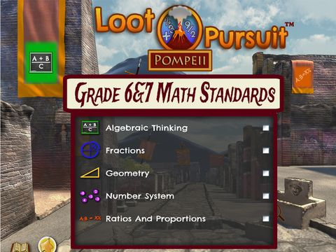 Loot Pursuit: Pompeii Grade 6&7 Math game for iPad