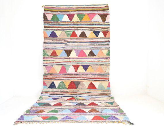 Vintage HANBAL BOUCHEROUITE Moroccan Rug Flatweave Linear Triangle Tasseled Flatweave Rug Contemporary Mid Century Modern 4' 11 x 10' 6