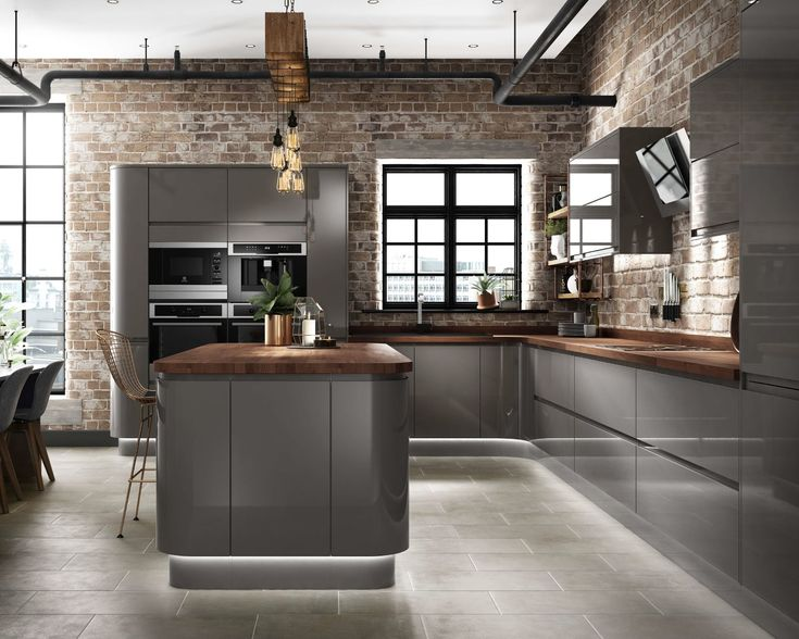 CG grey gloss kitchen industrial design concealed lighting concrete exposed brick