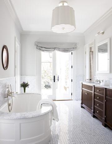 Bath Basket Weave Tile Floor Dark Wood Vanity Pale Gray Circa Lighting Pendant Fixture
