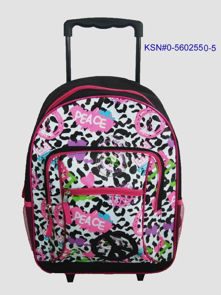 Athletech Girls Rolling Backpack - Leopard