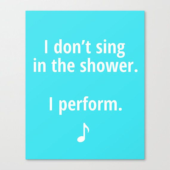Kids bathroom art, bathroom decor, bathroom sign, I dont sing in the shower, bathroom accessories, funny poster via Etsy