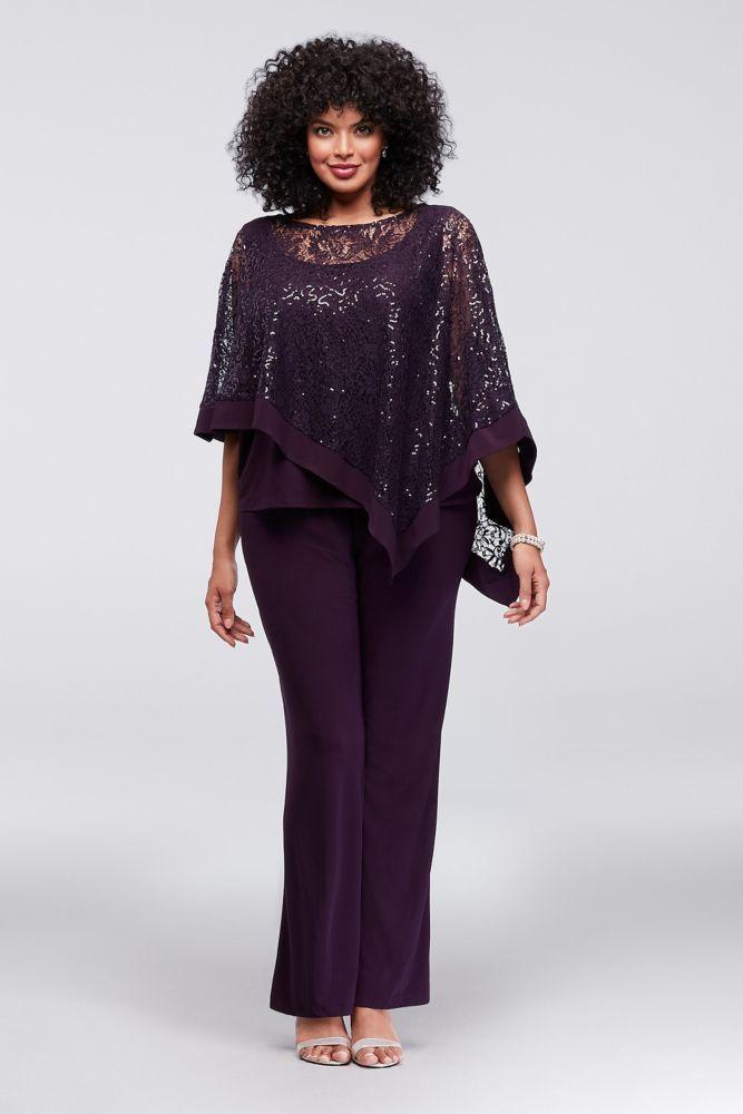 10825434 - Sequin Lace Plus Size Pantsuit with Sheer Capelet 2
