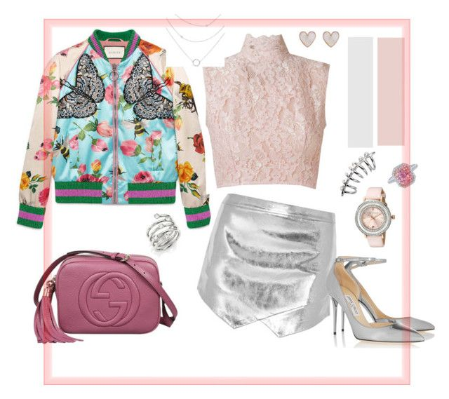 """Romantica serata."" by isabell-zanoletti on Polyvore featuring moda, Gucci, Mason by Michelle Mason, Martha Medeiros, Jimmy Choo, New Look, Ted Baker e Michael Kors"