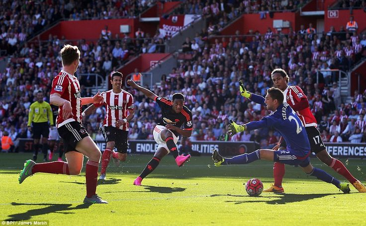 Sept. 21st. 2015: Anthony Martial (centre) netted his second goal in as many Premier League games for Manchester United to level the scores at 1-1 in the game at Southampton