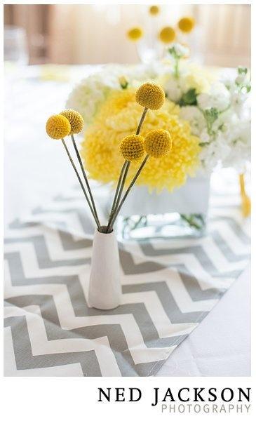 Yellow  chevron centerpiece  table runner idea {Photo by Laurel Events}