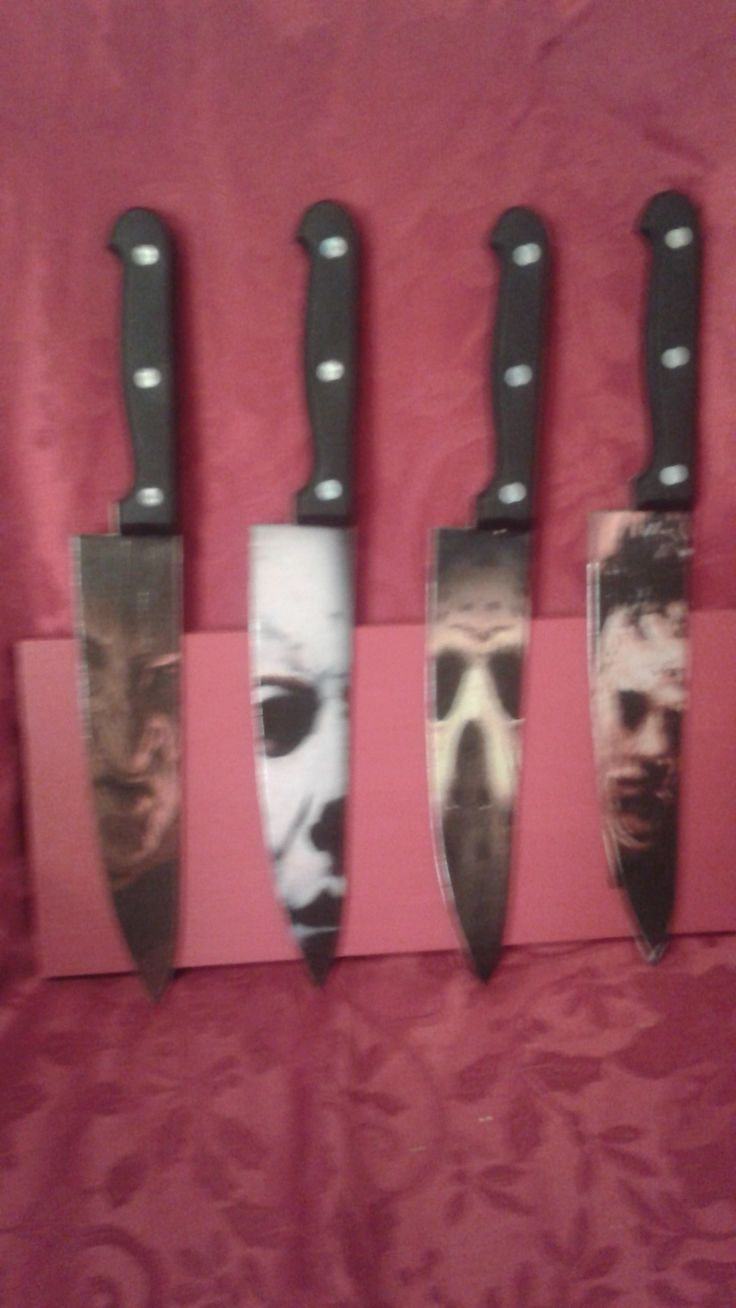 Freddy Krueger,Jason Voorhees, Leather Face,Micheal Myers inspired knives. These are 12 inch total length and 7 inch blade. These are made on a real stainless steel knife. Creation of Zombies Plus.