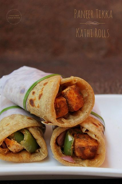 Indian style wraps, soft outer wrap with chunky and flavorful paneer (cheese) filling