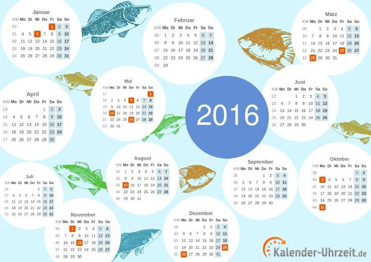 Kalender 2016 zum Ausdrucken - A4, PDF, Motiv: Sealife #KalUhr http://www.kalender-uhrzeit.de/kalender-2016/ausdrucken