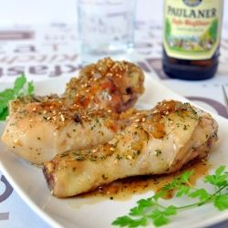 Chicken with honey beer sauce recipe - Spanish food and cuisine.  Quiero probar chicken with honey beer .  es de spain.  lleva chicken y honey beer.