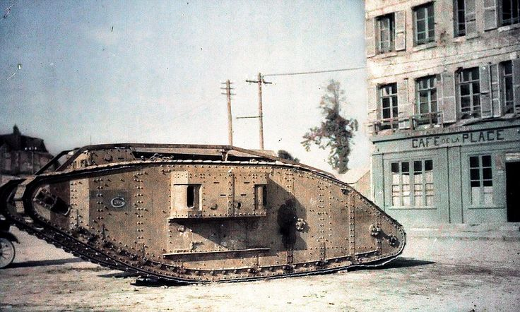 Pictures like this one of a British tank in Péronne near Amiens feature in the book which ...