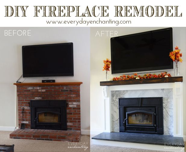 Come our DIY Fireplace Reveal-we covered our brick fireplace with stone slab, woodwork, and a rustic mantle at www.everydayenchanting.com