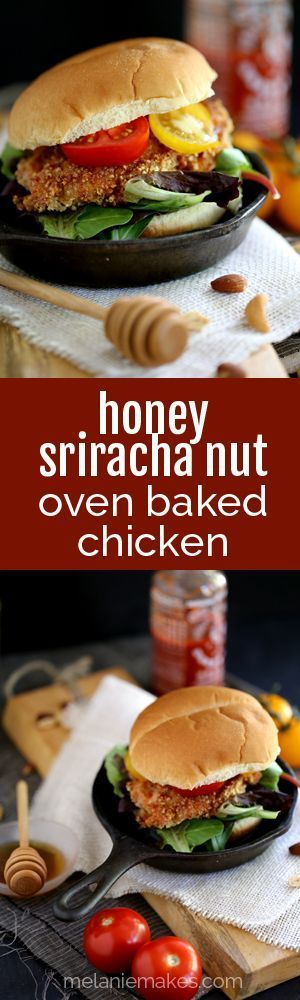 This seven ingredient Honey Sriracha Nut Oven Fried Chicken says so long to spattering oil and instead gets it's crispy crunch from an oven.  Marinated in buttermilk and coated in panko bread crumbs and mixed nuts before being bathed in a delicious honey Sriracha sauce, this chicken is the definition of sweet heat.