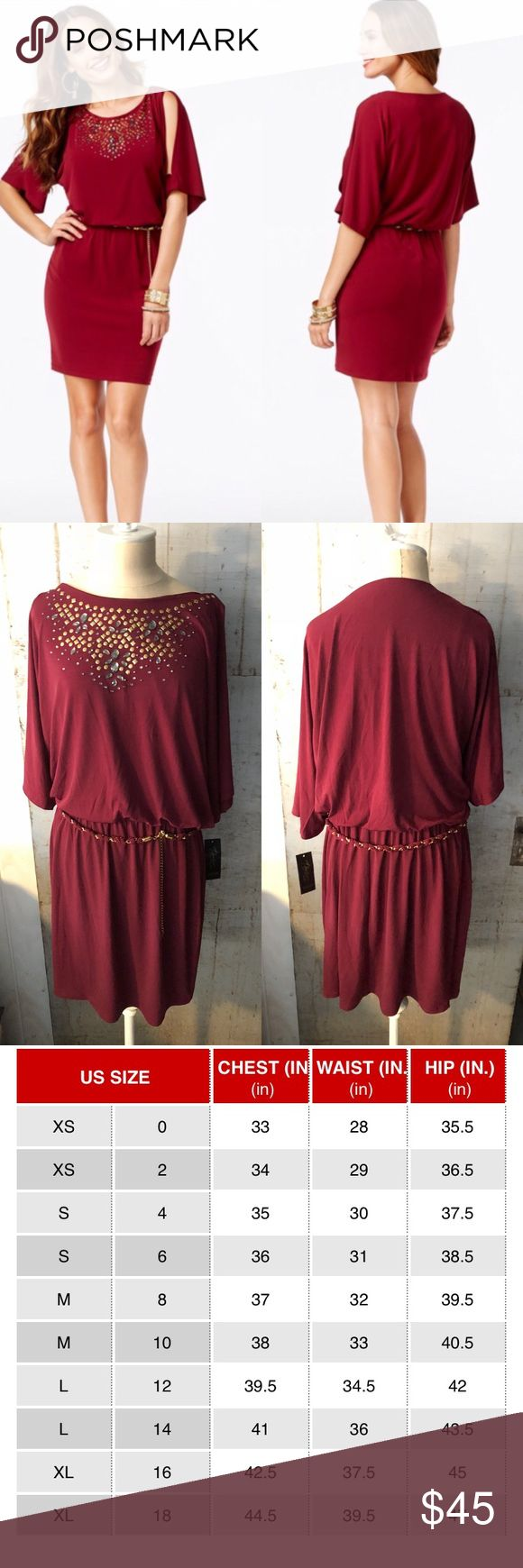 Maroon studded dress Maroon studded dress, belt included.  📊Use size chart for fit  🚫modeling or trades (askers will be ignored) or lowballing LC ✅ will consider offers made through BLUE offer button.   ✅ bundle 3 or more items for a custom offer using bundle feature 🌻 Social media: Business Instagram @lovelyinlilacofficial Thalia Sodi Dresses