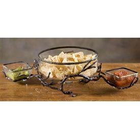 Wrought Iron Double Chip Dip Server With Bowls Chips And