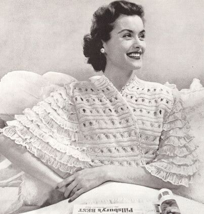 Knitting Pattern For Shawl Bed Jacket : 17 Best images about Bed Jackets on Pinterest Satin, Vintage and Knitting p...