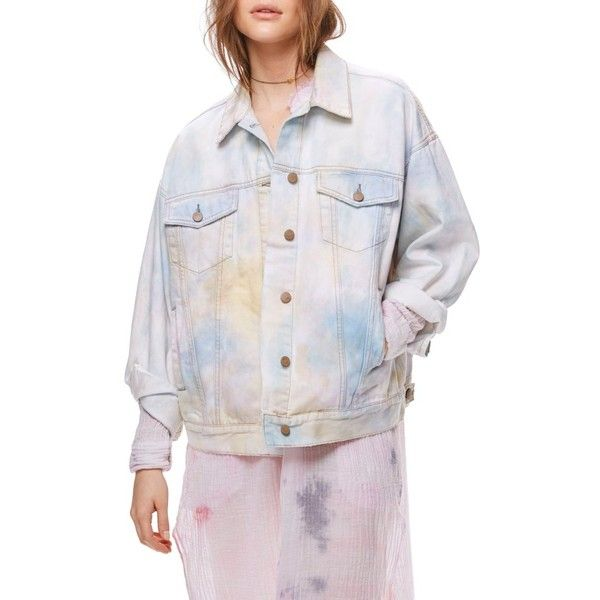 Women's Free People Tie Dye Denim Trucker Jacket ($148) ❤ liked on Polyvore featuring outerwear, jackets, ivory, free people jacket, tie dye jean jacket, denim jacket, oversized jackets and ivory jacket