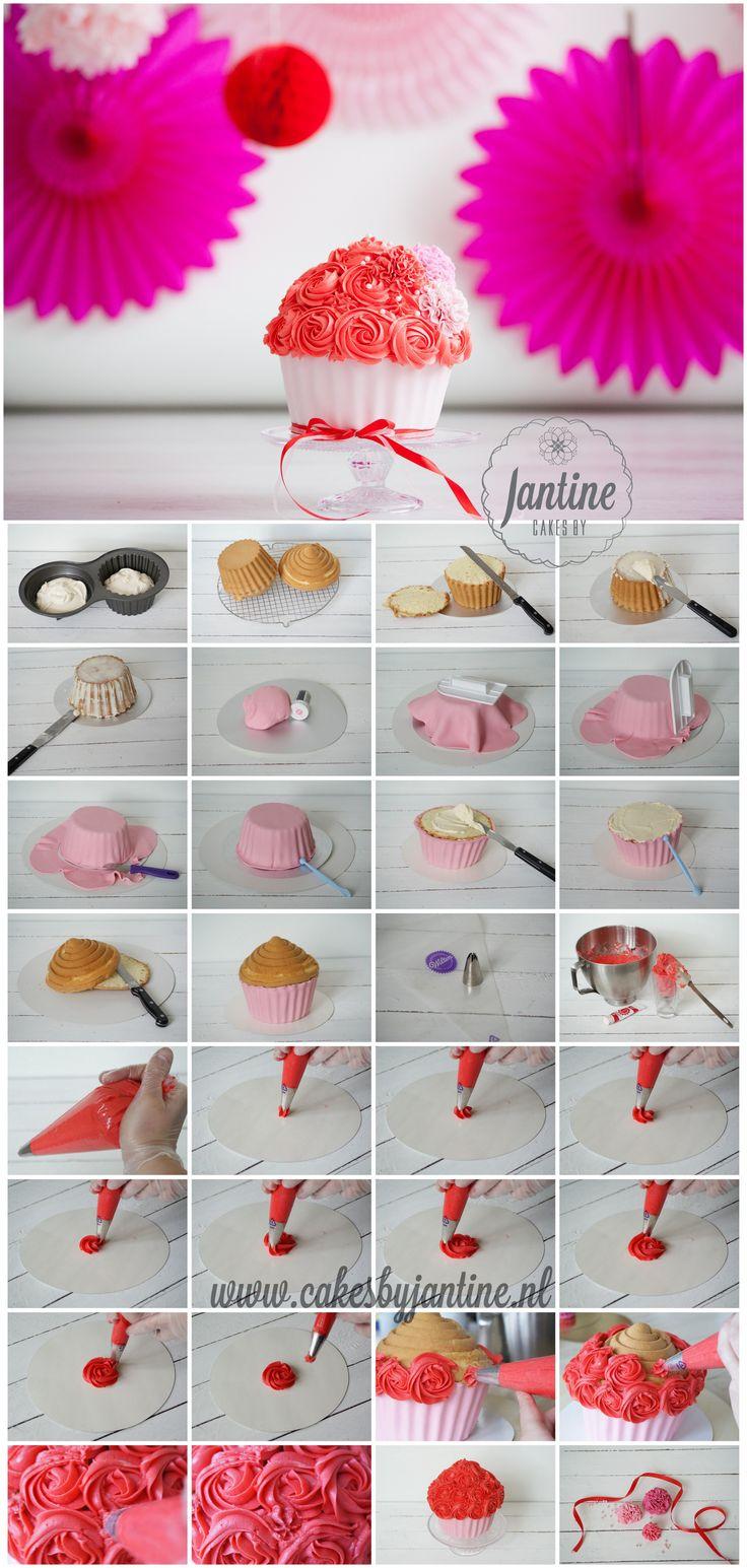 Fotografie: Fotografie Lydia Recept:Cakes by Jantine Benodigdheden Wilton giant cupcake pan bakspray taartkarton spatel smoother balltool mesje spuitzak 1M spuitmond 250