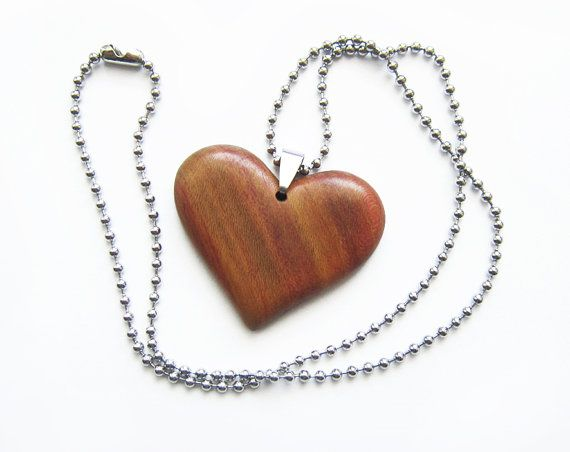 Wooden Heart Necklace Heart Necklace Wood by forEVAhairforks