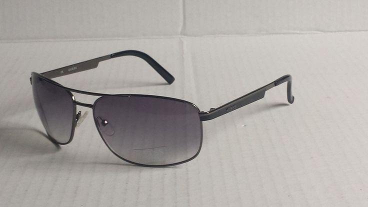 GUESS men aviator sunglasses GUF 117 (gun metal frame black lenses) with pouch  #GUESS #Aviator