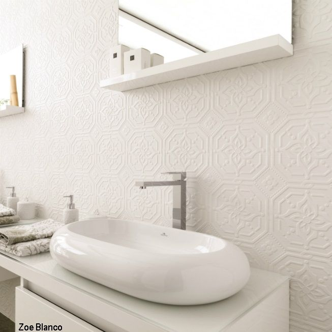Zoe Blanco Tile Installed From Porcelanosa   This 3 Dimensional Porcelain  Tile From Porcelanosa Has A Highly Textured Surface And Makes An  Eye Catching ... Part 72
