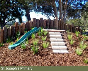 "Nature Play WA | Nature Playgrounds This should be do-able at the side of the yard where it drops down. Use that existing heigt difference and add more on the ""uphill"" side."