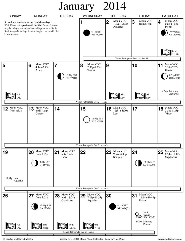 Zodiac Arts - Moon Phase Calendar for Eastern Time