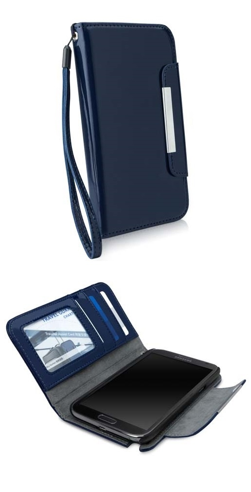 J'Adore Navy bleu ⚓ liquid-sheen patent leatherette wallet ⚓ Galaxy Note 2 case --- from @BoxWave