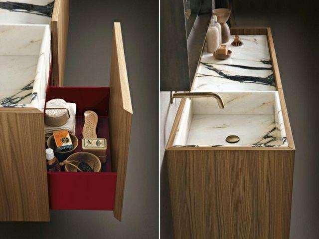 Waschtisch Unterschrank Holz Marmor Waschbecken Design