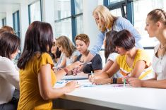 Group of women at the training stock photo
