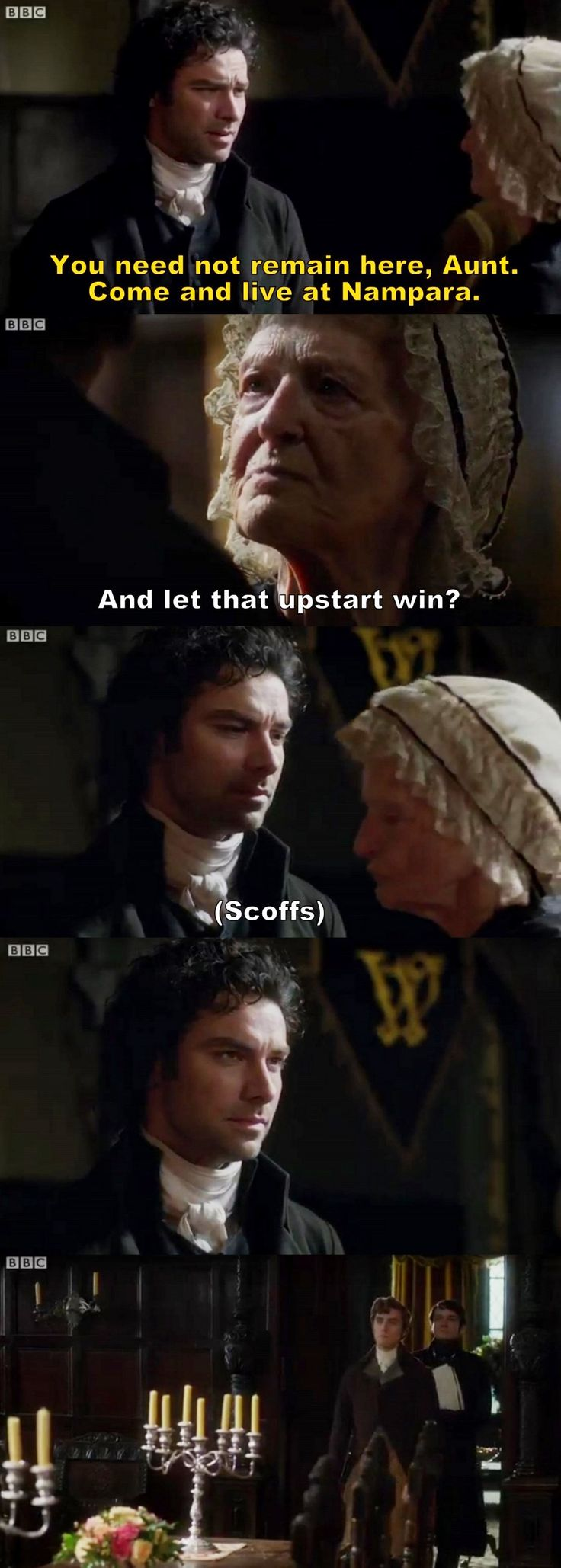 """And let that upstart win?"" - Aunt Agatha and Ross #Poldark ((She's tough!! Give Warleggan hell))"