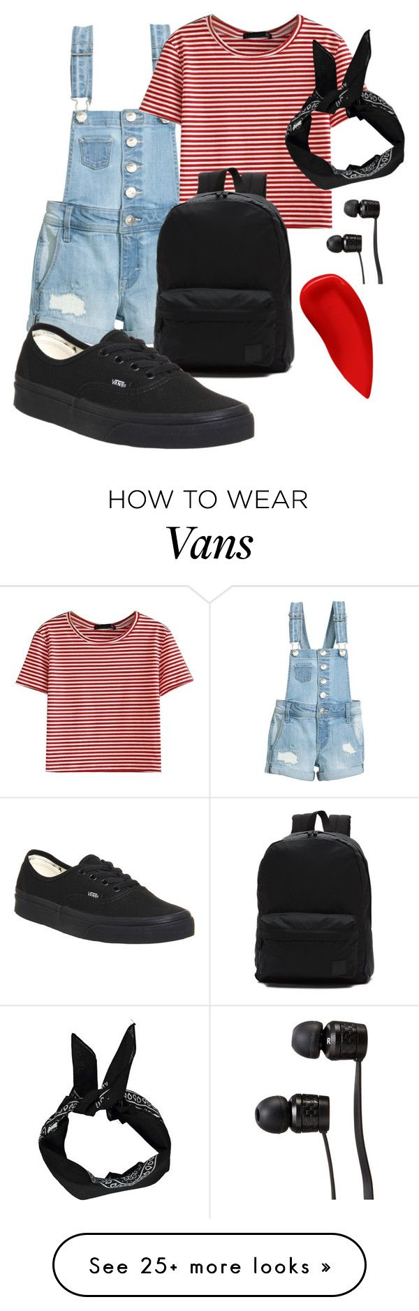 """""""Red stripes?"""" by auroraliu on Polyvore featuring WithChic, Vans, Lipstick Queen, summercamp and 60secondstyle"""