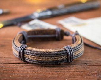 Genuine leather braided bracelet mens bracelet brown от GAALco