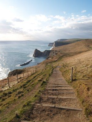 Jurassic Coast Path Route in Dorset, England, UK - The Jurassic Coast is a World Heritage Site on the English Channel coast of southern England. The site stretches from Orcombe Point near Exmouth in East Devon to Old Harry Rocks near Swanage in East Dorset, a distance of 155 kilometres.