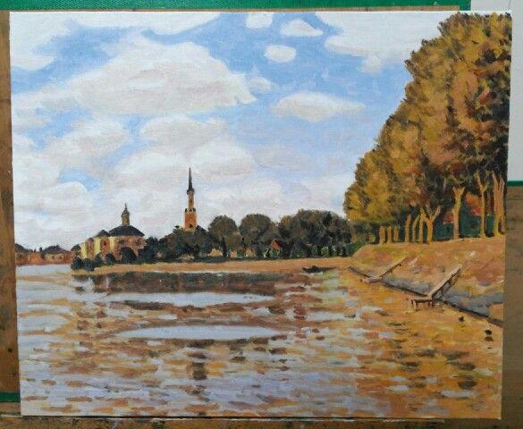 """Zaandam"" Oil on canvas by 성혁 지 Claude Monet painted in 1871."