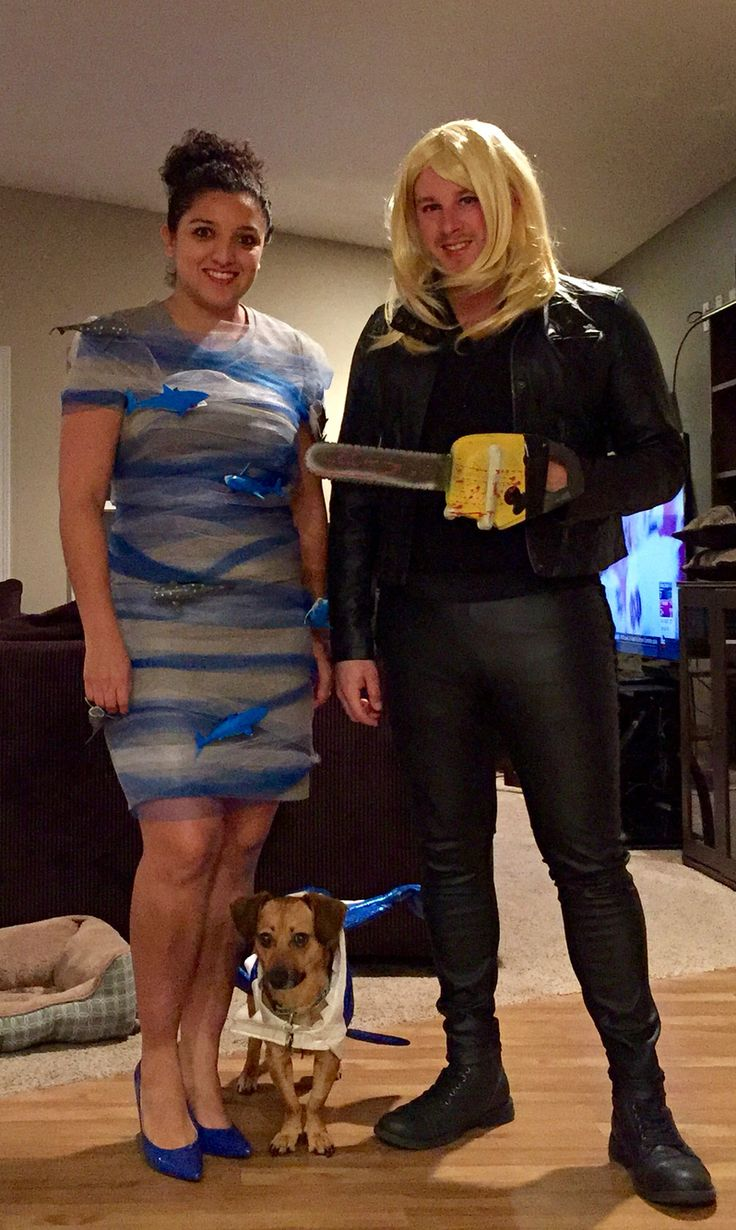 DIY Sharknado Halloween costume/ dog shark costume