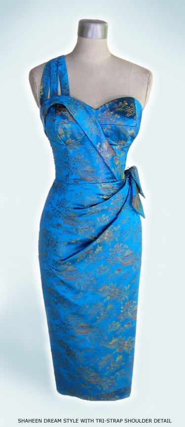 beautiful design...love the bodice, shoulder strap and the sarong-like styling of the dress