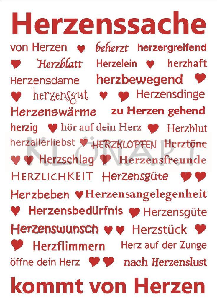 KLÖNART - Kartenkunst und mehr Postkarte  Buchstaben + Worte HERZENSSACHE kontakt@kloenart.de www.facebook.com/kloenart
