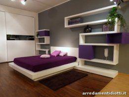 Letto camera da letto moderna bianco e viola