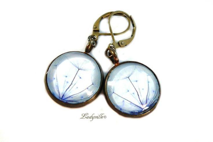 ♥ Grandi orecchini - Dente di leone nero al blu ♥ di Ladyville ®  su DaWanda.com