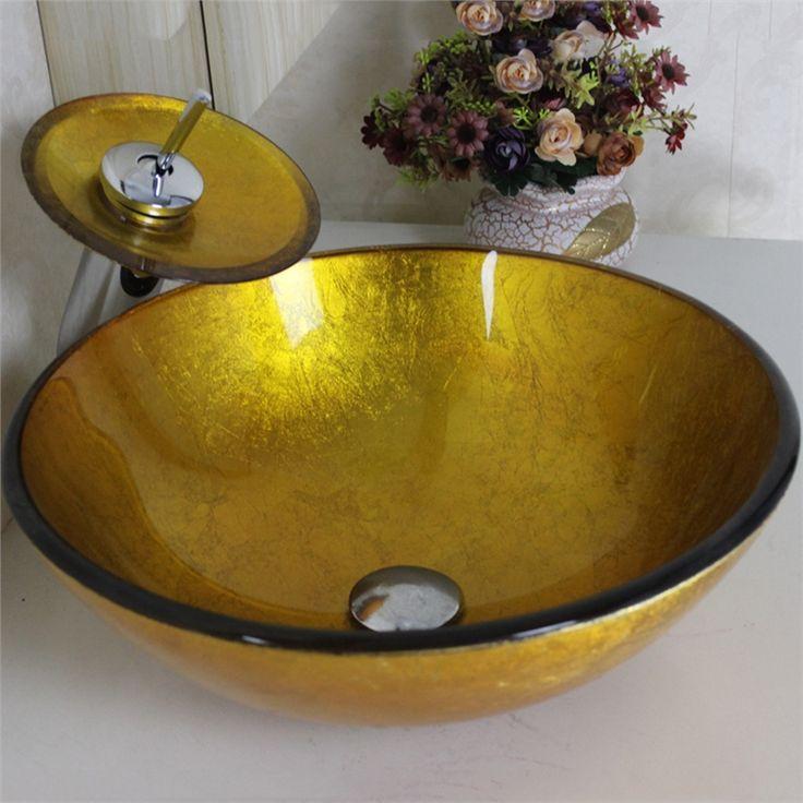 彩色上絵洗面ボウル&蛇口セット 洗面台 洗面器 手洗器 手洗い鉢 排水金具付 金色 円形 VT0007