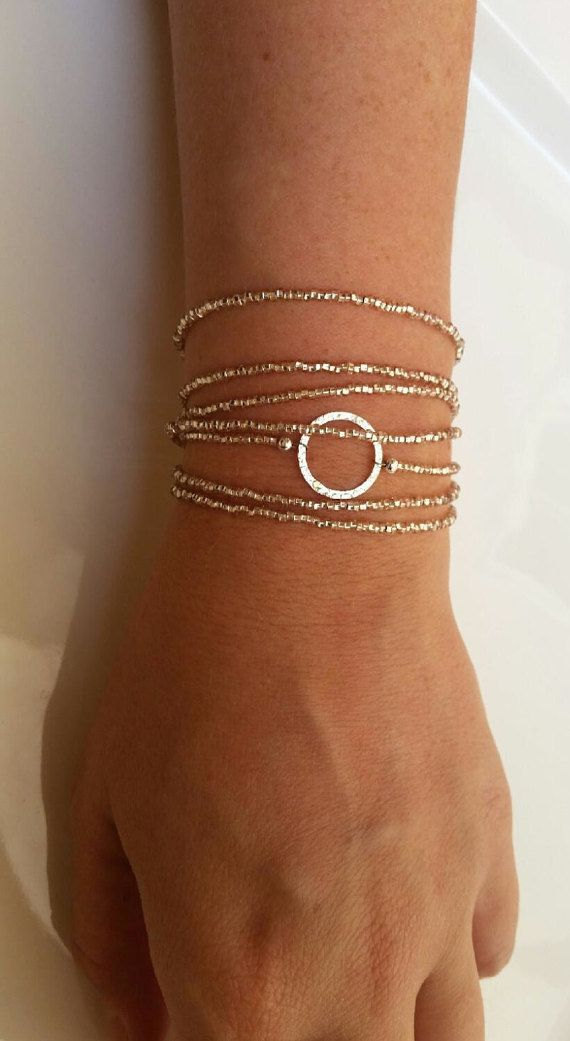 Wrap Bracelet Beaded Bracelet Dainty Washer by Anfyra on Etsy