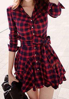 Freetime Fashion Sommerkleid Schwarz\Rot kariert mit Hüftschleife