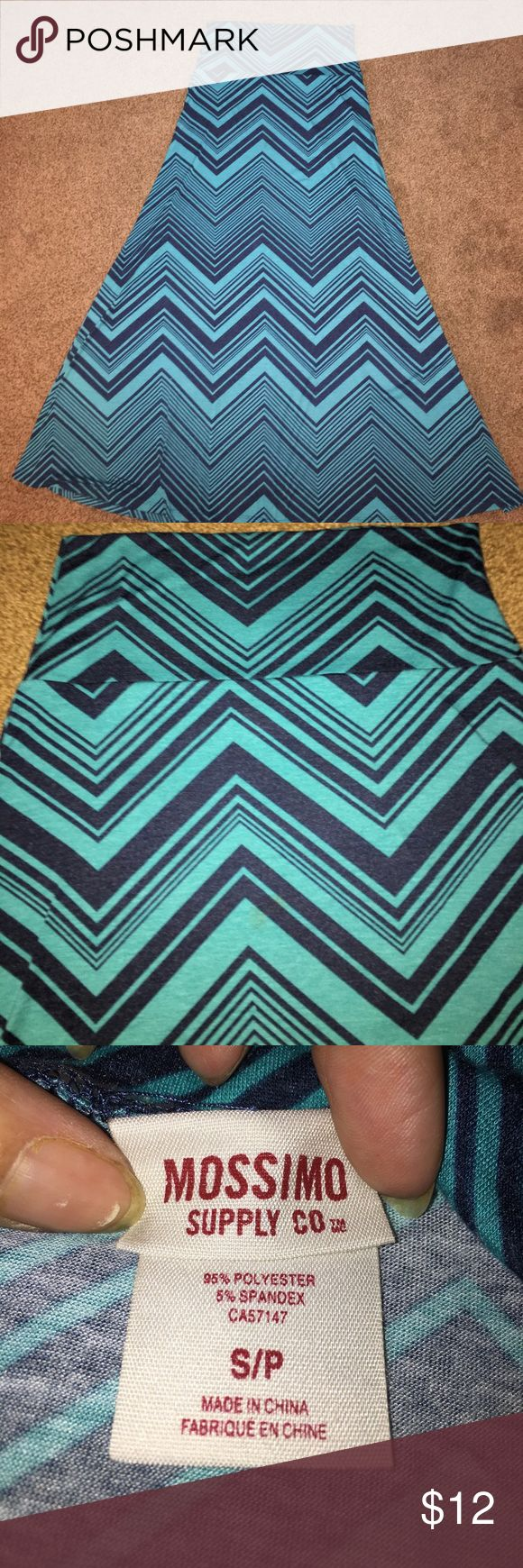 Dark teal and navy chevron maxi skirt This dark teal and navy chevron maxi skirt was worn once in perfect condition Mossimo Supply Co. Skirts Maxi