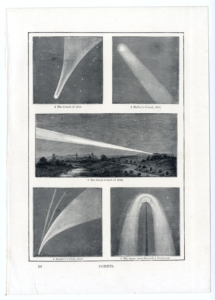 1895 COMETS Halley's 1835; Donati 1858, from Cassell's Encyclopaedia, vintage print