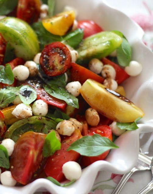 heirloom tomato caprese salad with balsamic....