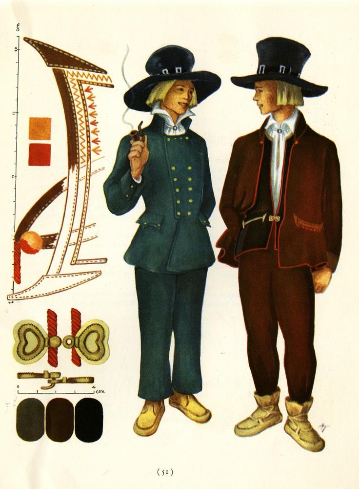 Sortavala men's suits taken from Suomalaisia Kansallispukuja [Finnish National Costumes] by Tyyni Vahter, illustrations by Greta Strandberg and Alli Touri