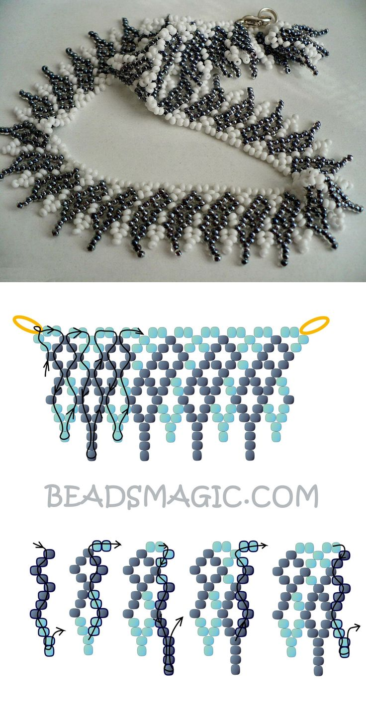 Free pattern for necklace Shade of Grey 11/0
