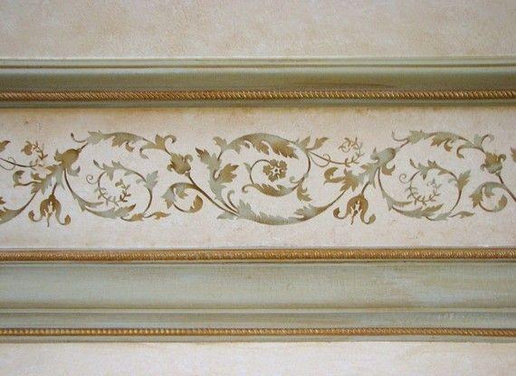 Wir sind stolz darauf, unsere 18-Jahrhundert Französisch Dekor Serie wiederverwendbaren Wand Schablonen bieten!  Die Versailles Grenze Schablone Funktionen klassische Eleganz kombiniert mit ein erstaunliches Maß an Detail. Geschwungene Linienführung und Akanthusblättern unterstreichen diese klassische Schablone Design. Verwenden Sie es auf Ihrem eigenen oder mit anderen Elementen aus unserer Kollektion Versailles verbinden.  Diese Grenze kann mit einer herkömmlichen Multi-Farbabweichung…